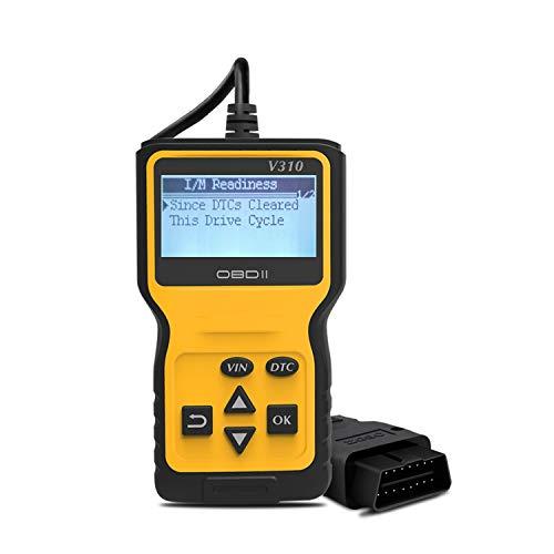 MIAROZ OBD2 Diagnosegerät,Auto Diagnosewerkzeuge Universal Handscanner OBDII Code-Scanner-Fahrzeug-Fehlercodeleser Fehlerauslesegerät unterstütze 6 Sprachenen (Yellow-3)