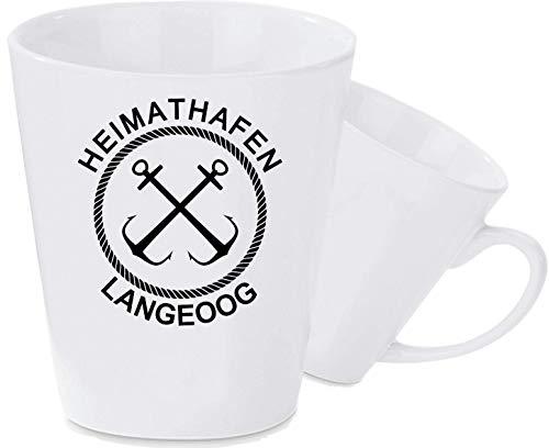 Shirtinstyle Kaffeepott Latte Tasse, Heimathafen Langeoog Anker, weiß