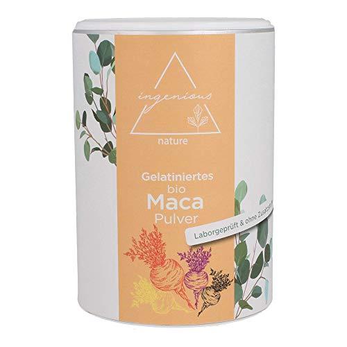 ingenious nature® Laborgeprüfter Bio Maca Pulver Mix - GELATINIERT - 500g - aus den vier Maca Sorten gelb, rot, violett und schwarz, roh, aus Peru. Angebaut auf über 4400m. Vorrat für 100 Tage.