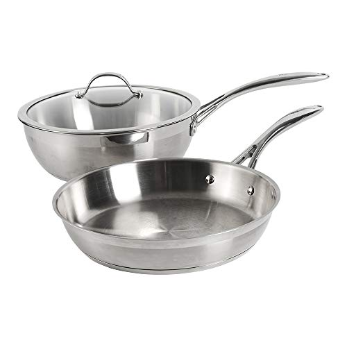ProCook Professional Stainless Steel Sauteuse and Frying Pan Set - 28cm - Induction Pans for Stir-Frying and Searing Meat or Vegetables, Cooking Pancakes and More with Toughened Glass Lid