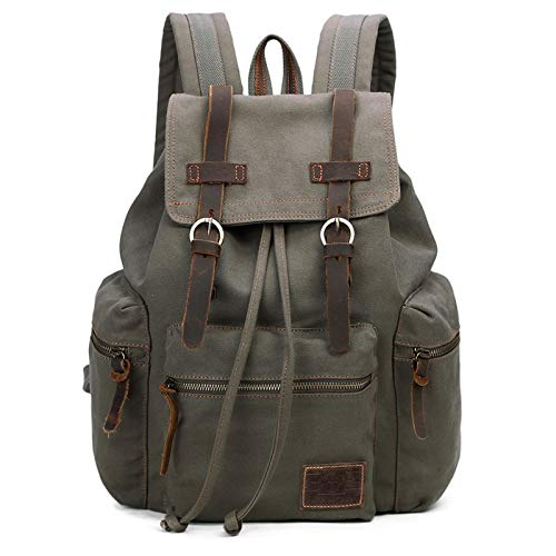Vintage Canvas Backpack Outdoor Hiking Travel Rucksack 19L Army Green #220