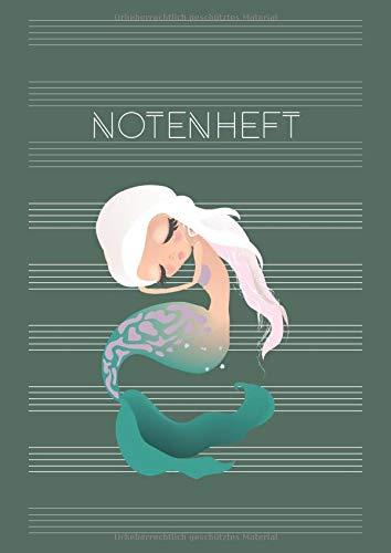 Notenheft: DIN A4 Blanko Musiknotensystem mit Register | Musik Noten für Schule, Unterricht & Hobby | große Lineatur für Anfänger - Motiv: Meerjungfrau II