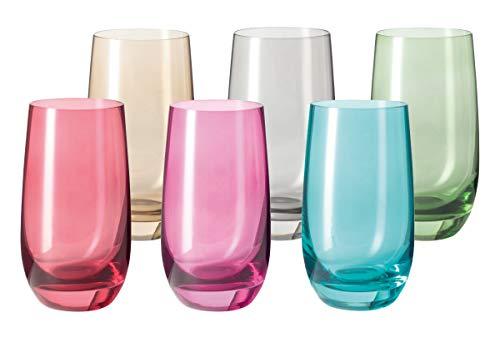 Leonardo Sora Trink-Gläser 6er Set, buntes Gläser-Set, spülmaschinengeeignete Saft-Gläser, Wasser-Gläser, Trink-Becher in 6 Farben 390 ml, Bunt, 047287