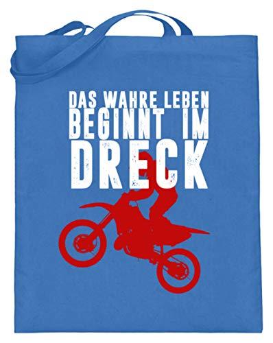 SPIRITSHIRTSHOP Het ware leven begint in de vuil - Motocross, motorfiets, motorfietsen, quads - jute zak (met lange handvatten)