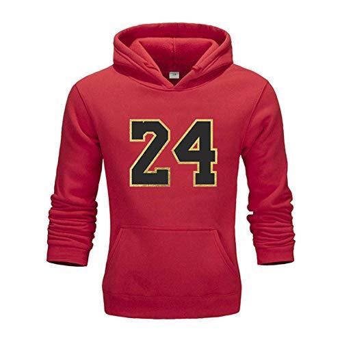 ZGDJZM Neuer Pullover Pullover Nr. 24 Basketball Sport Hoodie Pullover Pullover Männer und Frauen Mode Beiläufige Frühling und Herbstjacke red- XXXL
