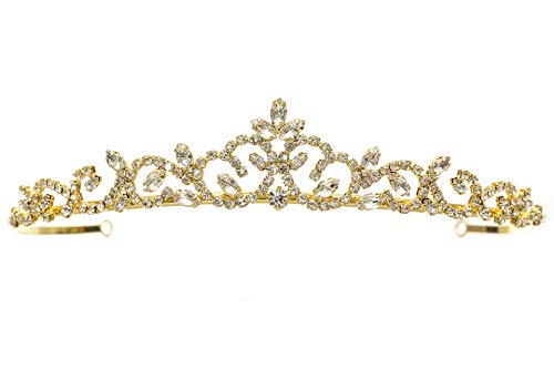 Bridal Princess Rhinestones Crystal Flower Wedding Tiara Crown - Gold Plating T1178