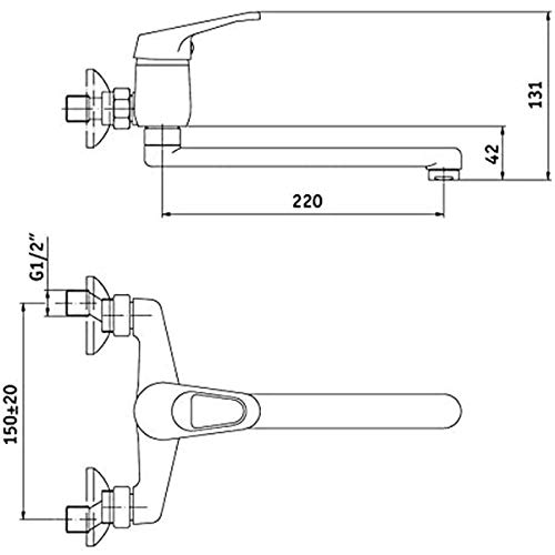 Küchenarmatur schwenkbarer Auslauf, Wandmontage Mischbatterie Küche Wasserhahn - 2