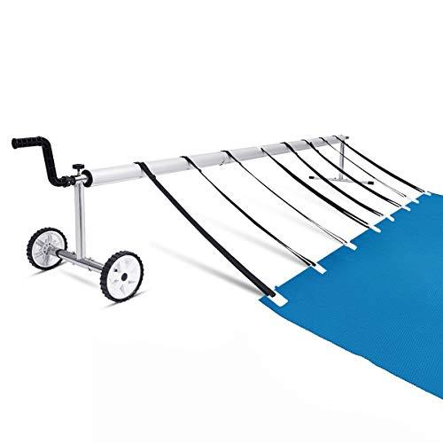 GOPLUS Pool-Aufroller Pool-Reel Schwimmbadrolle für Solar- und Poolplanen, Aluminium Aufrollsystem fahrbar, Aufrollvorrichtung einstellbar, Länge 5,9 m