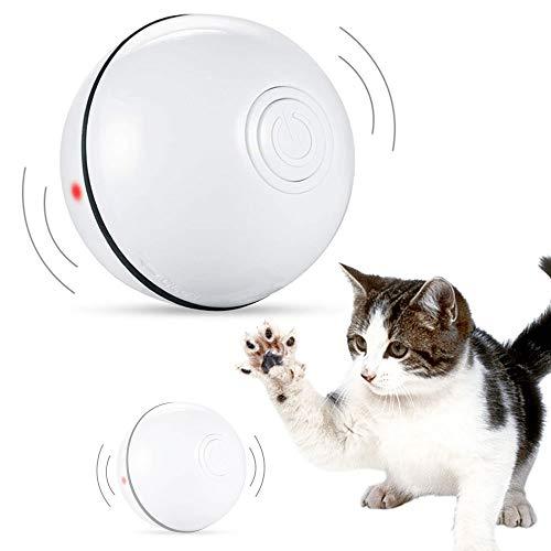 Sahgsa Palla Giocattolo per Gatti con Luce LED Palla elettrica Rotante a 360 Gradi per Gatti Giocattolo interattivo per Gatti