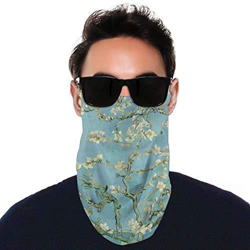 Full Van Gogh Mandelblüte Kunst Bandana Gesichtsmaske UV Ohr Schlaufe Hals Gaiter Schal Angeln Radfahren Schwarz