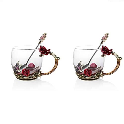 PIANAI Nueva Taza de Agua de Flores de Color Esmalte/Taza de té de Alta Temperatura/Juegos de té/Juegos de té de la Tarde para Adultos/Juego de té Chino/Taza de café,Rojo,2 pcs