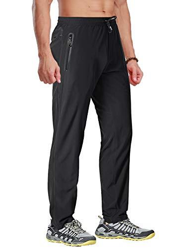 BIYLACLESEN Summer Pants for Men Hiking Pants Mens Quick Dry Pants Men Fishing Pants for Men Jogger Pants Yoga Pants Running Pants Men Workout Pants Men Black