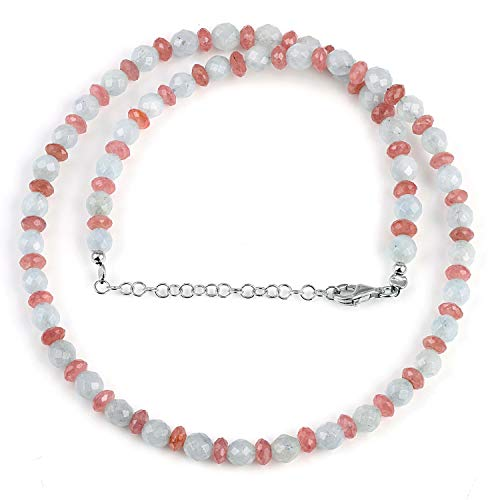 Natural Multicolor Aquamarine and Rhodochrosite Faceted Bead Gemstone Necklace with 925 Sterling Siver Chain for Women. Gift for Her, Christmas, Birthday, Aniversary, New Year - 50 Cm