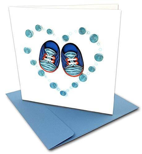 Glückwunschkarte für Babyschuhe, mit Umschlag, 15,2 x 15,2 cm, Blau Für jeden Anlass. Innen blanko. Handarbeit Geeignet für Rahmen.