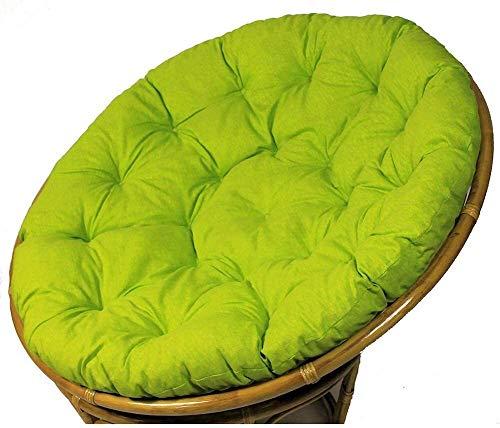 WANGQW Colgando Cesta colchoneta colchoneta, cojín de SIL Cojín de Silla de papasana, cojín de algodón de la Hamaca Redonda de ratán, cojín de Asiento Suave for jardín balcón 110 cm (Color : Green)