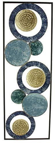 khevga Cuadro decorativo 3D de metal para pared, diseño de círculos, color azul, 89 x 31 cm
