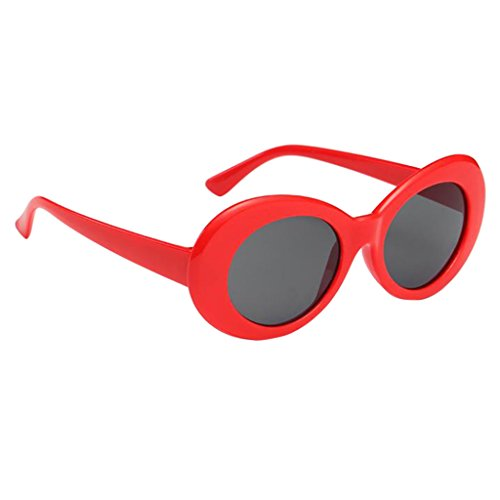 joyMerit Gafas de Sol Retro para Hombre Y Mujer, Gafas de Diseñador con Lentes Redondas Y Tonos Vintage, Gafas - Rojo + Gris