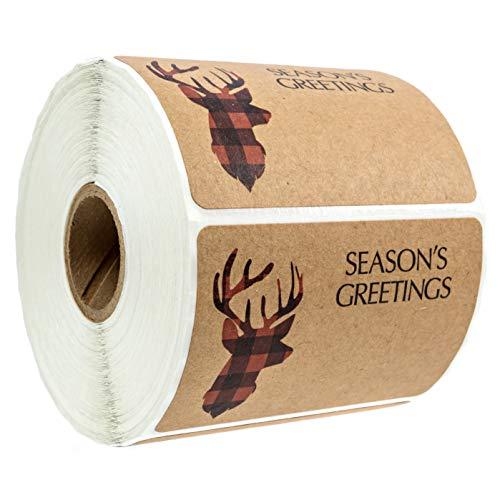"Buffalo Plaid Christmas Stickers / 2"" x 3"" Seasons' Greetings Packaging Labels / 500 Deer Head Silhouette Christmas Tags"