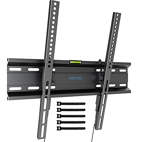 BONTEC Staffa TV per Televisori da 23-55 Pollici a LED, LCD, Plasma e Curvi, Inclinabile Ultra Sottile Supporto TV Parete Fino a 45 kg, Max. VESA 400x400mm, Supporto TV Muro con Fascette per Cavi