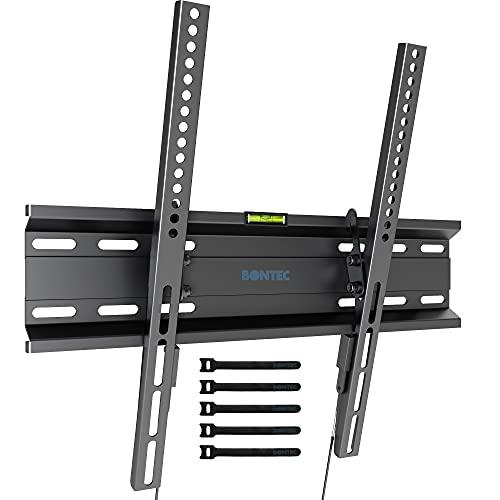 BONTEC Soporte TV Pared Inclinable Ultra Delgado para 23-55 Pulgadas Television de LED/LCD/Plasma, Carga Máx. 45kg, Máx VESA 400x400 mm