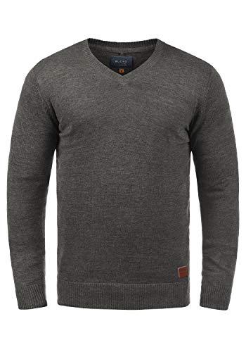 Blend Lasse Herren Strickpullover Feinstrick Pullover Mit V-Ausschnitt Und Melierung, Größe:XXL, Farbe:Pewter Mix (70817)