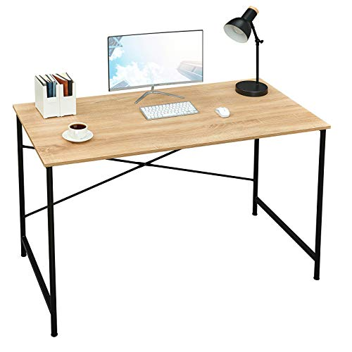 Coavas 47 inch Office Computer Desk Large Study Desk Simple Writing Table Workstation for Home, Oak Tabletop with Black Frame