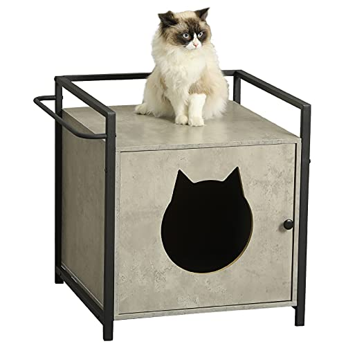 MSmask Katzenhaus für Katzenbett oder Katzentoilette, versteckte Waschkiste für Haustiere, Nachttisch, Holz- und Metallrahmen (Grau)