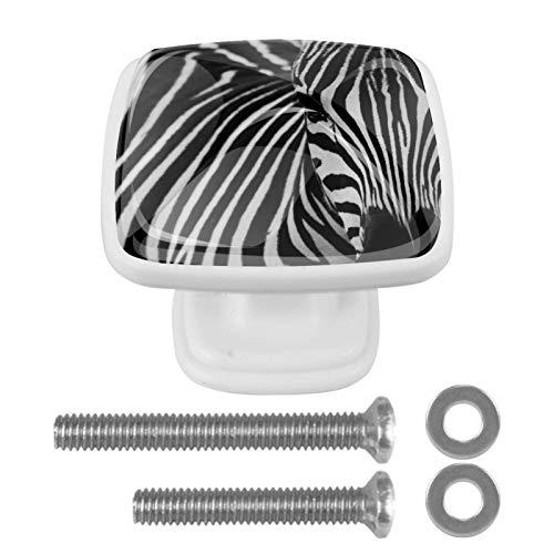 Paquete de 4 pomos cuadrados para armario de cocina, diseño de cebra