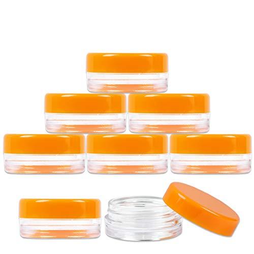 (50 Pieces Jars + Lid) Beauticom 3G/3ML (0.1 oz) Round Clear Jars with ORANGE Screw Cap Lids for Scrubs, Oils, Toner, Salves, Creams, Lotions, Makeup Samples, Lip Balms - BPA Free (0.1% Cream)