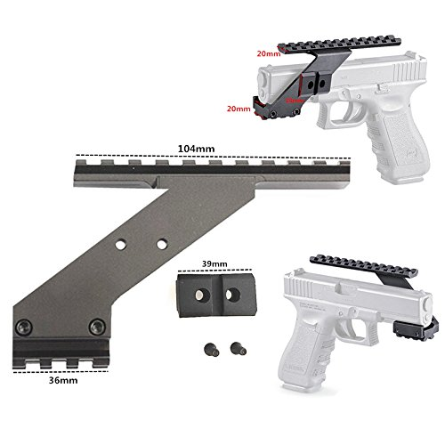 FIRECLUB Tactical Precision Machined Aluminum NOT Plastic Weaver Picatinny Top amp Bottom Pistol Handgun Scope Mount for SightsLights amp Accessories Fits Glock Pistols with Front Accessories
