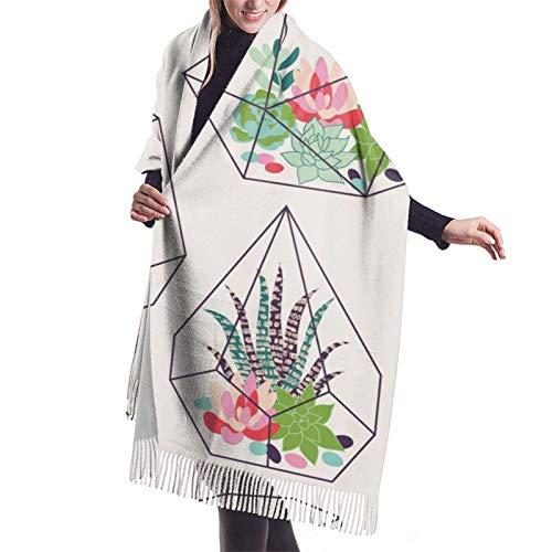 Cactus Inky in Glass Terrarios Bufandas de cachemira para mujer tropicales Moda Grandes chales cálidos Idea de regalo Chales de inviern