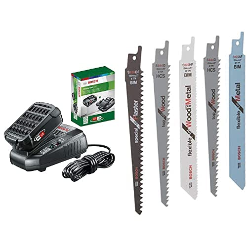 Bosch Home and Garden 1.600.A00.K1P Starter Set Con Batería, 2.5Ah Y Cargador Rápido, 18 W, 18 V, 2 Piezas + Hojas De Sierra Intercambiables (Set De 5 Piezas)