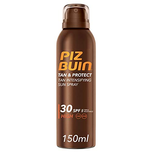 Piz Buin Tan & Protect Protector Solar en Spray, Acelerador del Bronceado, SPF 30, Protección Alta - 150 ml