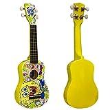 Ukelele soprano de Bob Esponja de color amarillo con 4 cuerdas de nailon