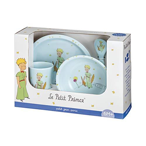PETIT JOUR PARIS - Coffret Cadeau 5 Pièces Le Petit Prince - Set de Vaisselle Complet Pour Repas Bébé - 1 Assiette (Ø 18 cm) + 1 Timbale (160 ml) + 1 Bol (250 ml) + 1 Cuillère + 1 Fourchette