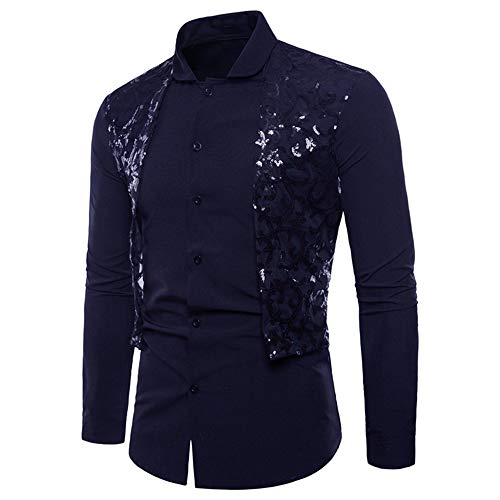 HJHK Men's Shirt Long Sleeve Slim fit Kent Collar Modern Sequin Patchwork Men's Shirt Business Casual Elegant Men's Shirts 2021 Spring Autumn New Tops Wedding Party Classic Shirt XXL