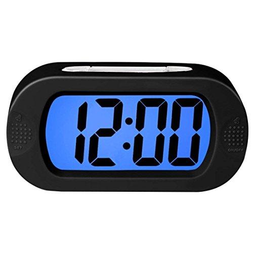Despertador digital con funda de silicona, Snooze,Simple Setting, alarma progresiva, funcionamiento con batería, a prueba de golpes, The Ideal Gift Clock for Kids convenient,Negro