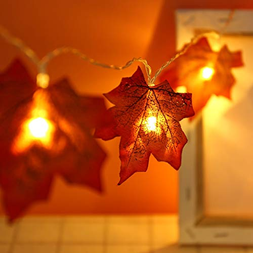 Lichterkette Weihnachtsschnur 20 LED 300cm Weihnachts Ahorn Lichter Weihnachten Maple Leaf Party Home Outdoor Lichtervorhang Partydekoration Innenbeleuchtung Lichtprogramme Lampe