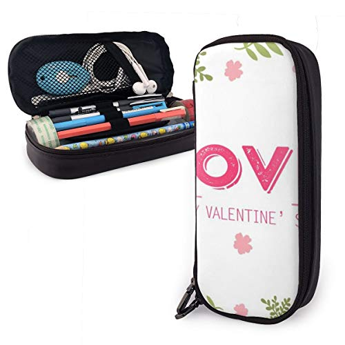 OUYouDeFangA - Bolsa de almacenamiento de piel sintética para el día de San Valentín, portátil, para estudiantes, lápices, oficina, papelería, bolsa, cartera con cremallera, bolsa multifunción para maquillaje