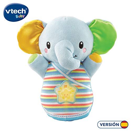 VTech-80-508622 Trompito, Elefante de Peluche para bebé, Musical, luz de Noche, con...
