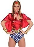 Wonder Lady Costume Set for Women – Superhero Cosplay Outfit Includes Bodysuit, Cape, Headband, Wrist Cuffs (Small/Medium)