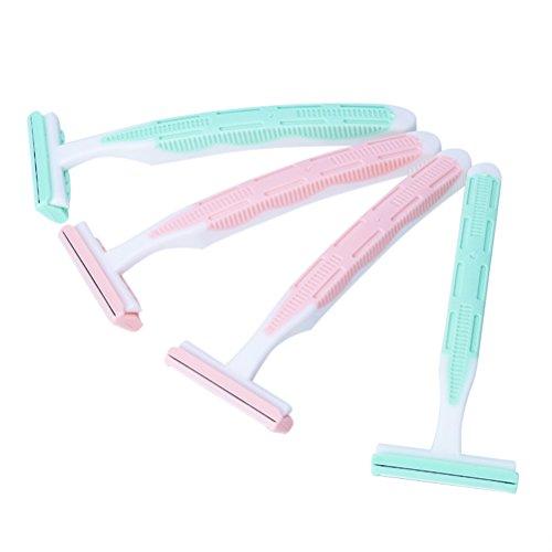 LEDMOMO 4pcs rasoirs pour les femmes rasoirs à double lame aisselles corps cheveux rasoir raboteuse (vert + rose)