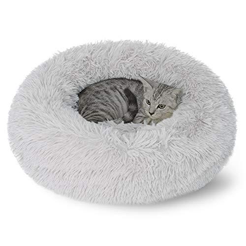 DanceWhale Rund Hundebett Flauschig Katzenbett Waschbar Hundekissen Weiches Plüsch Donut Haustierbett für Katzen Hunde (50cm, Grau)