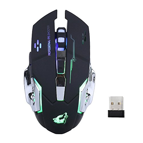 Lancoon Ratón Inalámbrico para Juegos - con Silencio Clic, 3 dpi Ajustables - GM08 Negro
