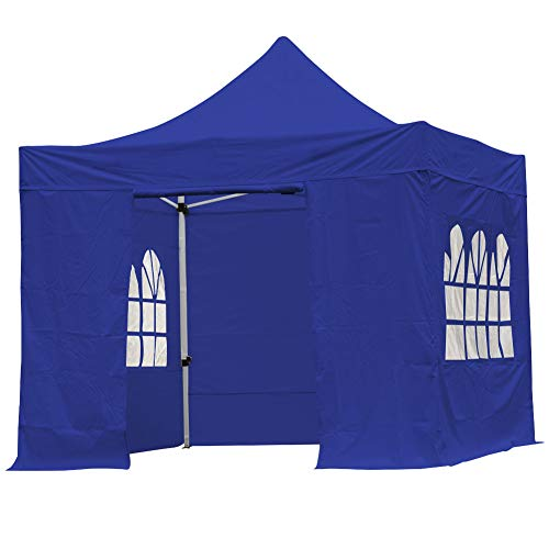 Tribesigns 3m x 3 m Gazebo with Sides, Heavy Duty Pop Up Shelter with Wheeled Carry Bag, Outdoor Canopy Tent for Shade and Rain (Blue)