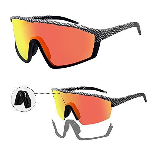 Homradise Gafas de bicicleta de carretera, Accesorios de mtb, Gafas de ciclismo Gafas de sol polarizadas para hombres y mujeres, Gafas de sol deportivas para baloncesto, pesca, esquí(Negro)