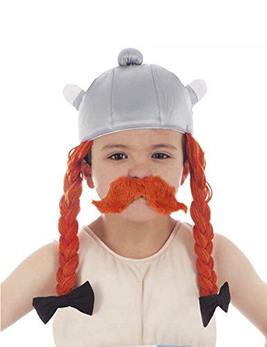 Generique - Obelix-Lizenzartikel Helm Kostümzubehör für Kinder grau-orange