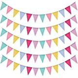 Guirnalda de banderines para exteriores, 60 unidades, imitación de lino, multicolor, triángulos, banderines, guirnaldas decorativas para bodas, fiestas, cumpleaños, fiestas en el jardín (12 unidades)