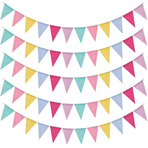 Wimpelkette Outdoor, Wimpelketten 60 Stuck Lmitation Leinen Mehrfarbig Dreieck Flaggen Wimpelkette Kinderzimmer Girlanden Deko für Hochzeit Party Geburtstag Gartenparty (12Pcs Wimpel/Jede Girlande)