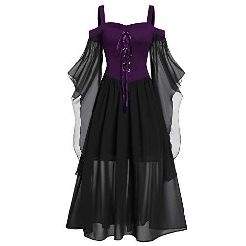 2DXuixsh Damen kalte Schulter Gothic Kleider besondere Anlass Party Rüschen Ärmel Midi Kleid - Violett - X-Groß